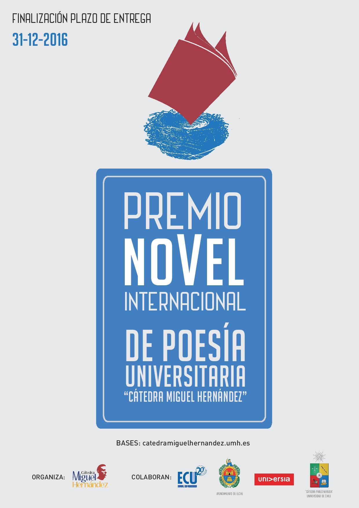 Cartel Premio Novel Internacional Poesía Universitaria UMH