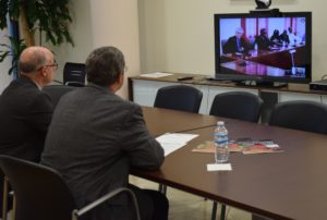 Video conference with UMH Rector, Jesús Pastor, during the lunchroom inauguration ceremony.