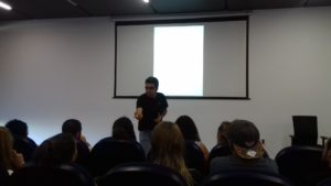 Pablo Mas giving the first master class in the International Student Film Project.