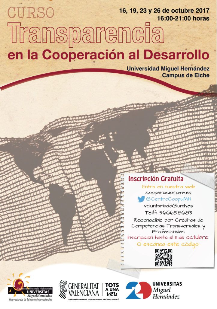 Cartel Curso Transparencia Cooperación Desarrollo UMH