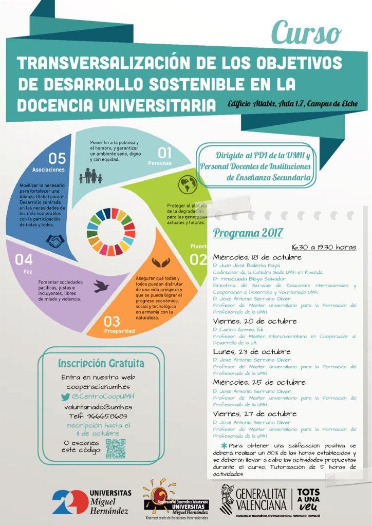 Cartel Curso Transversalización objetivos de desarrollo sostenible en la docencia universitaria UMH