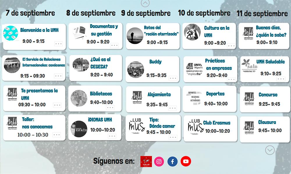Listado Workshops Welcome Days UMH Actividades Club Erasmus